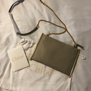 CHLOE Calfskin Mini Roy Chain Pouch Bag Grey